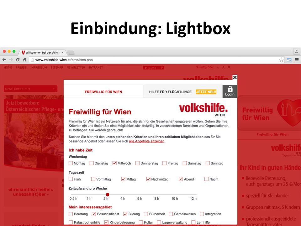 Einbindung: Lightbox