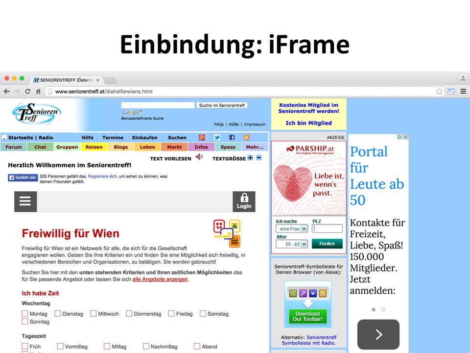 Einbindung: iFrame