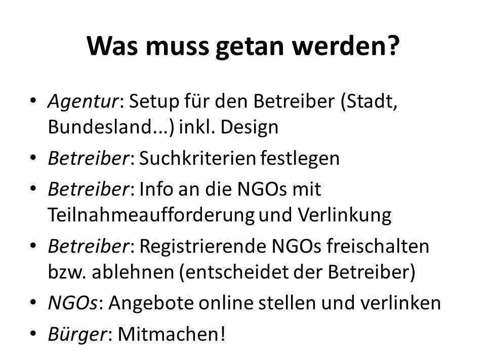 Was muss getan werden.Agentur: Setup für den Betreiber (Stadt, Bundesland...) inkl.