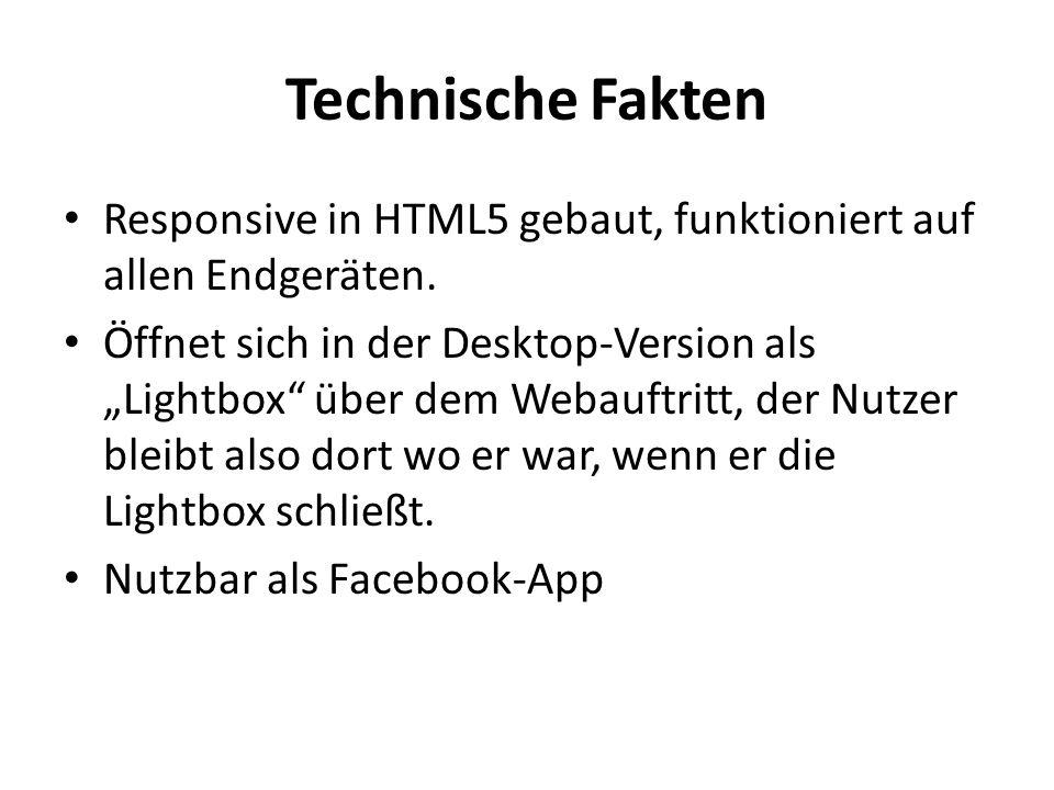 Technische Fakten Responsive in HTML5 gebaut, funktioniert auf allen Endgeräten.