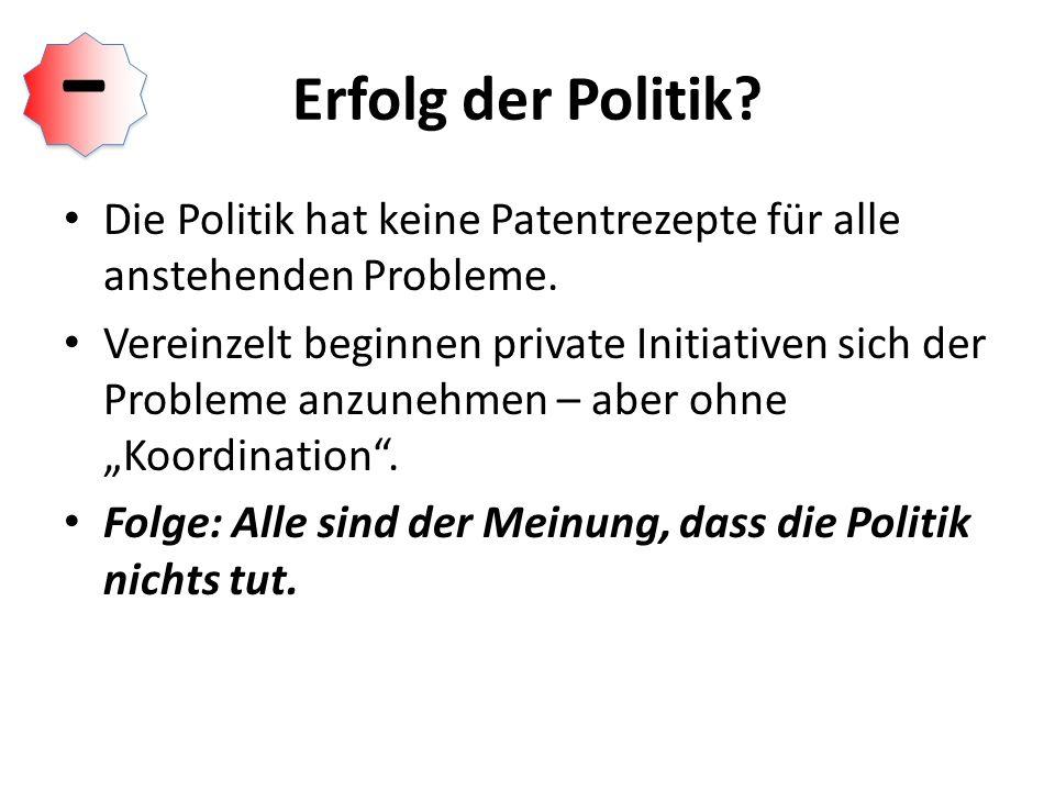 Erfolg der Politik.Die Politik hat keine Patentrezepte für alle anstehenden Probleme.