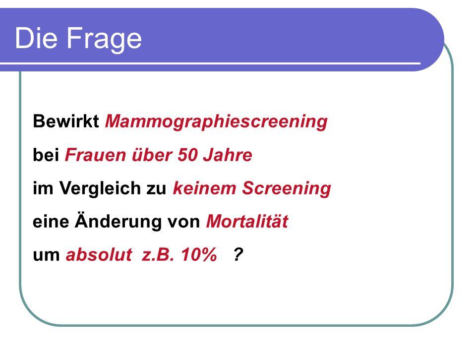 Bewirkt Mammographiescreening bei Frauen über 50 Jahre im Vergleich zu keinem Screening eine Änderung von Mortalität um absolut z.B. 10% ? Die Frage
