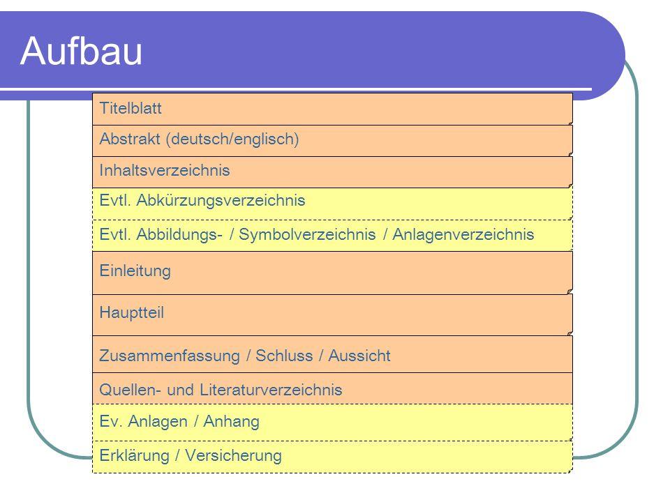 Aufbau Titelblatt Abstrakt (deutsch/englisch) Evtl. Abkürzungsverzeichnis Evtl. Abbildungs- / Symbolverzeichnis / Anlagenverzeichnis Hauptteil Zusamme