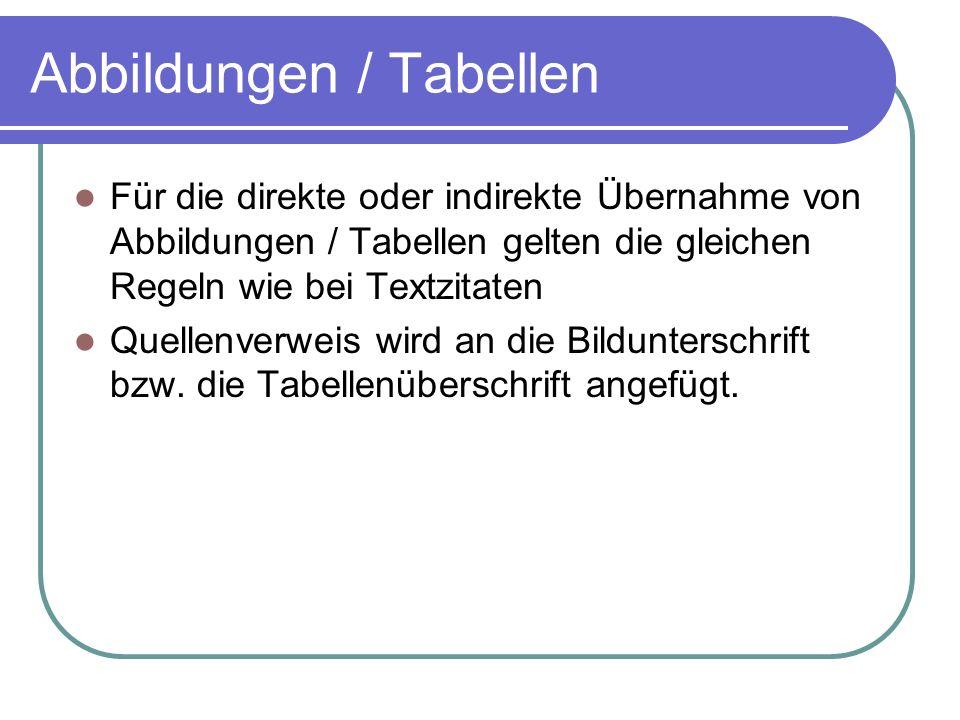 Abbildungen / Tabellen Für die direkte oder indirekte Übernahme von Abbildungen / Tabellen gelten die gleichen Regeln wie bei Textzitaten Quellenverwe
