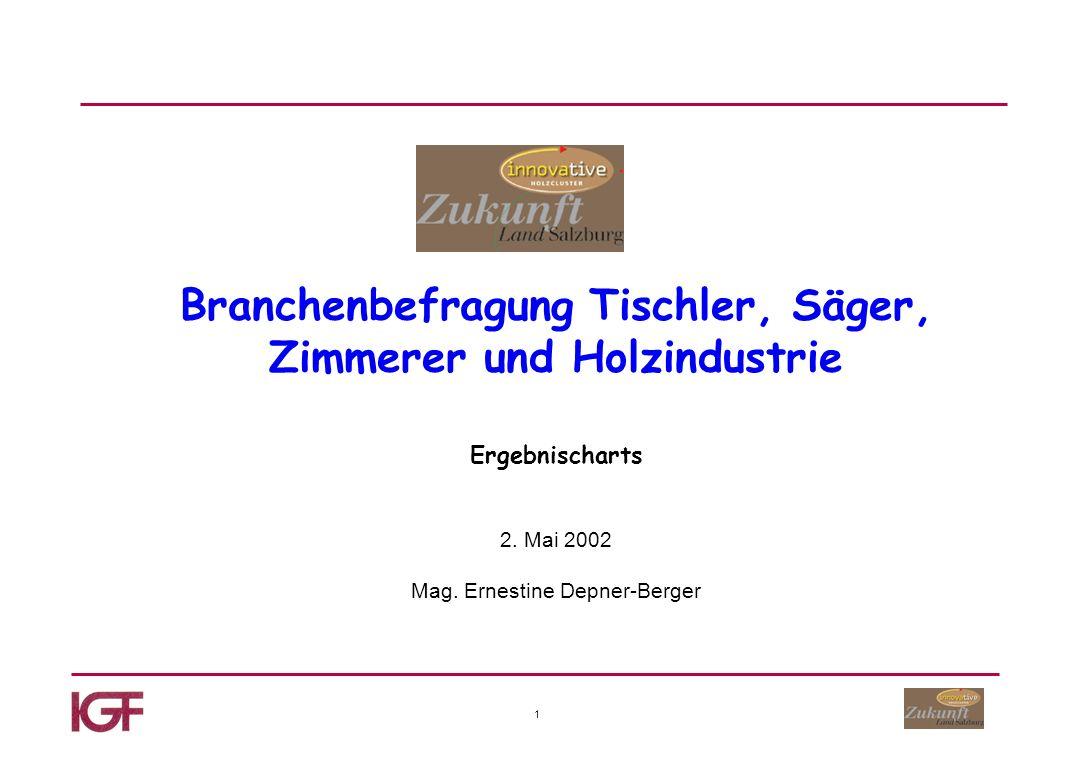 1 Branchenbefragung Tischler, Säger, Zimmerer und Holzindustrie Ergebnischarts 2.