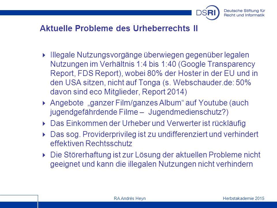 Herbstakademie 2015RA Andrés Heyn Aktuelle Probleme des Urheberrechts II  Illegale Nutzungsvorgänge überwiegen gegenüber legalen Nutzungen im Verhältnis 1:4 bis 1:40 (Google Transparency Report, FDS Report), wobei 80% der Hoster in der EU und in den USA sitzen, nicht auf Tonga (s.