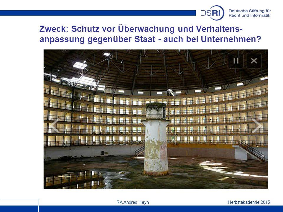 Herbstakademie 2015RA Andrés Heyn Zweck: Schutz vor Überwachung und Verhaltens- anpassung gegenüber Staat - auch bei Unternehmen