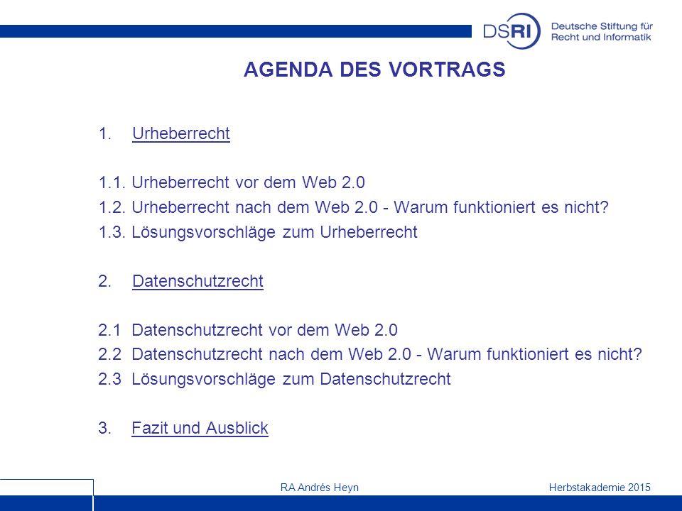 Herbstakademie 2015RA Andrés Heyn AGENDA DES VORTRAGS 1.Urheberrecht 1.1.