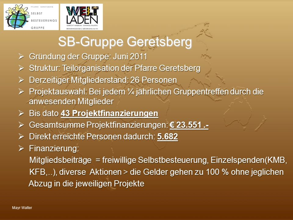 Mayr Walter SB-Gruppe Geretsberg  Gründung der Gruppe: Juni 2011  Struktur: Teilorganisation der Pfarre Geretsberg  Derzeitiger Mitgliederstand: 26