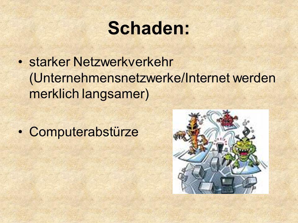 Schaden: starker Netzwerkverkehr (Unternehmensnetzwerke/Internet werden merklich langsamer) Computerabstürze