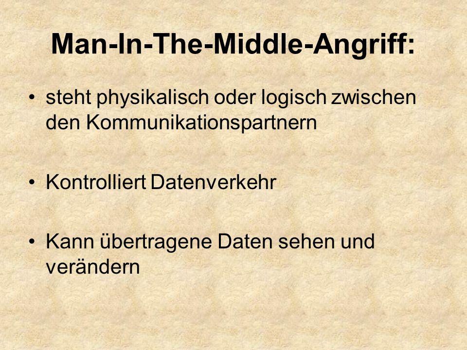 Man-In-The-Middle-Angriff: steht physikalisch oder logisch zwischen den Kommunikationspartnern Kontrolliert Datenverkehr Kann übertragene Daten sehen und verändern