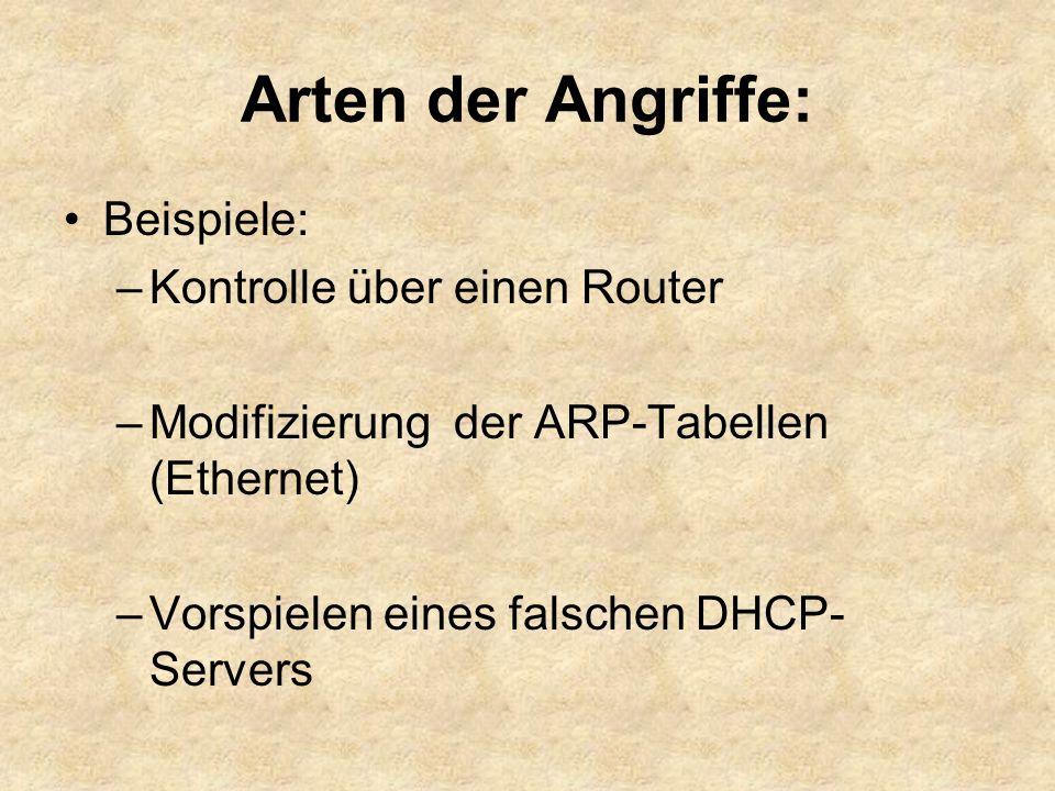 Arten der Angriffe: Beispiele: –Kontrolle über einen Router –Modifizierung der ARP-Tabellen (Ethernet) –Vorspielen eines falschen DHCP- Servers