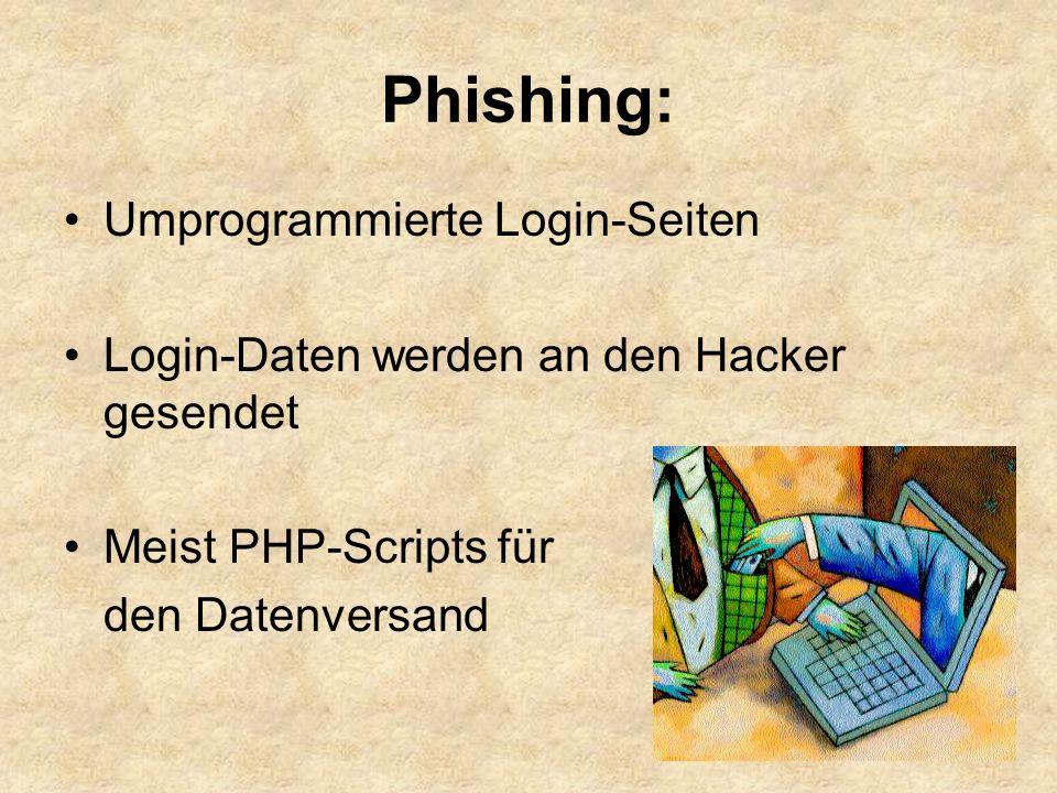 Phishing: Umprogrammierte Login-Seiten Login-Daten werden an den Hacker gesendet Meist PHP-Scripts für den Datenversand