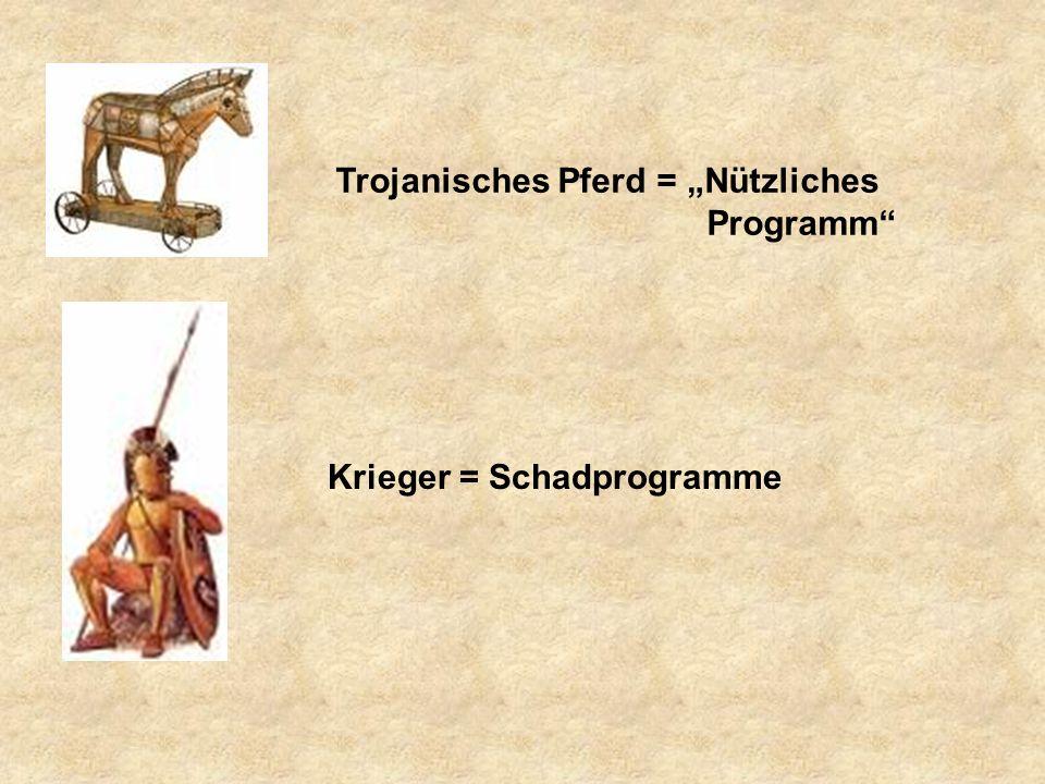 """Trojanisches Pferd = """"Nützliches Programm Krieger = Schadprogramme"""
