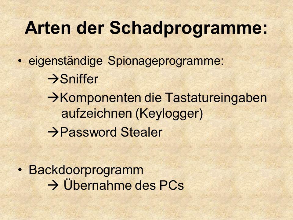 eigenständige Spionageprogramme:  Sniffer  Komponenten die Tastatureingaben aufzeichnen (Keylogger)  Password Stealer Backdoorprogramm  Übernahme des PCs Arten der Schadprogramme: