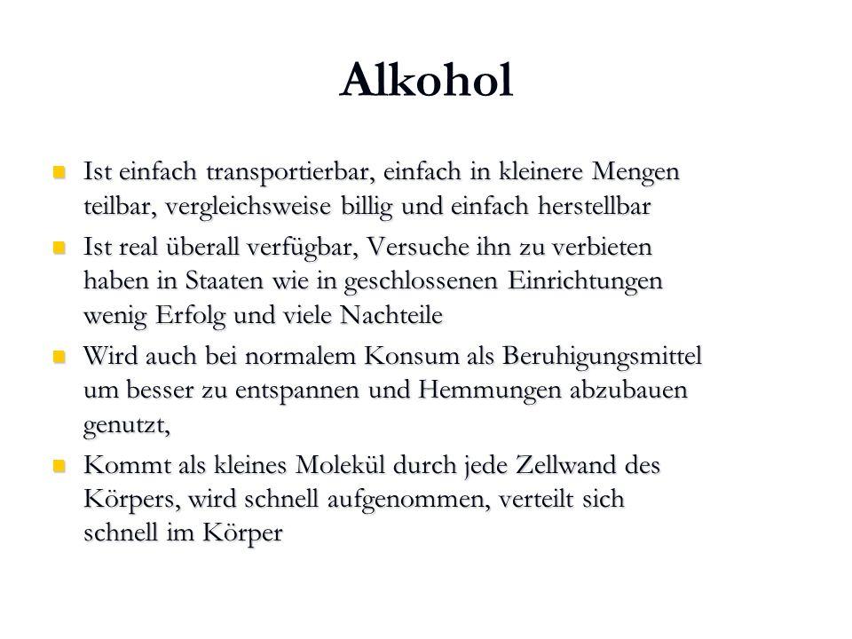 Karl C. Mayer www.neuro24.de Alkohol Ist einfach transportierbar, einfach in kleinere Mengen teilbar, vergleichsweise billig und einfach herstellbar I