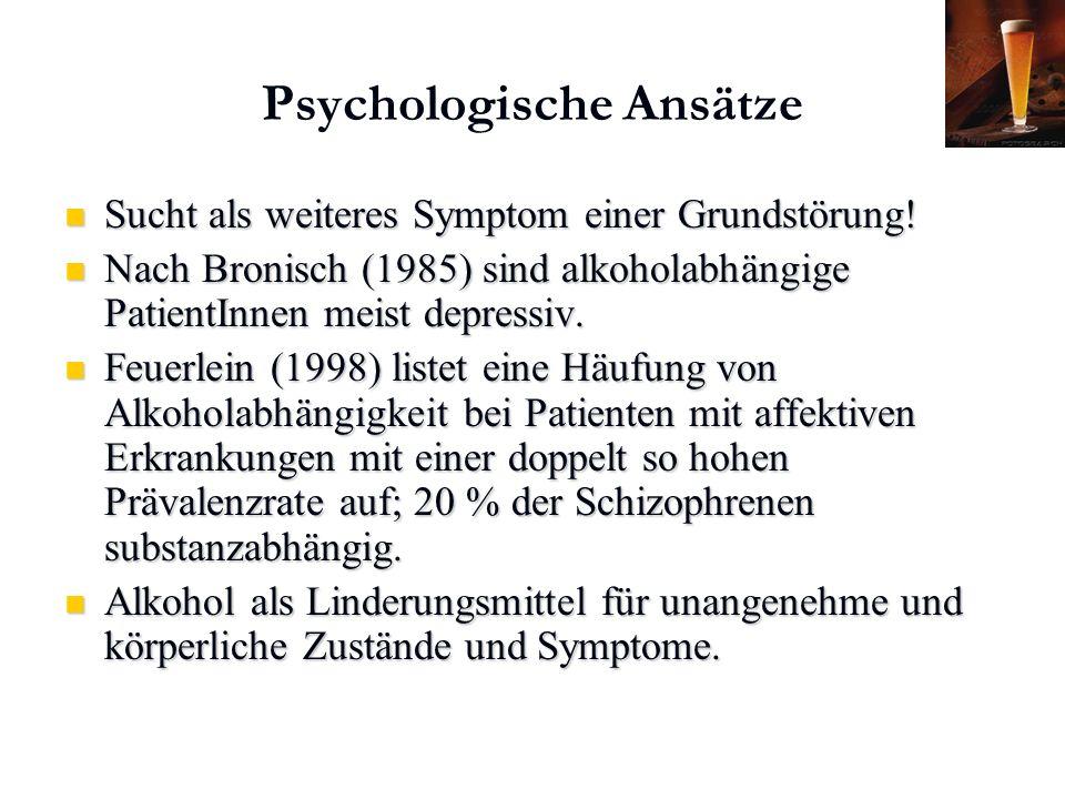 Karl C. Mayer www.neuro24.de Psychologische Ansätze Sucht als weiteres Symptom einer Grundstörung! Sucht als weiteres Symptom einer Grundstörung! Nach