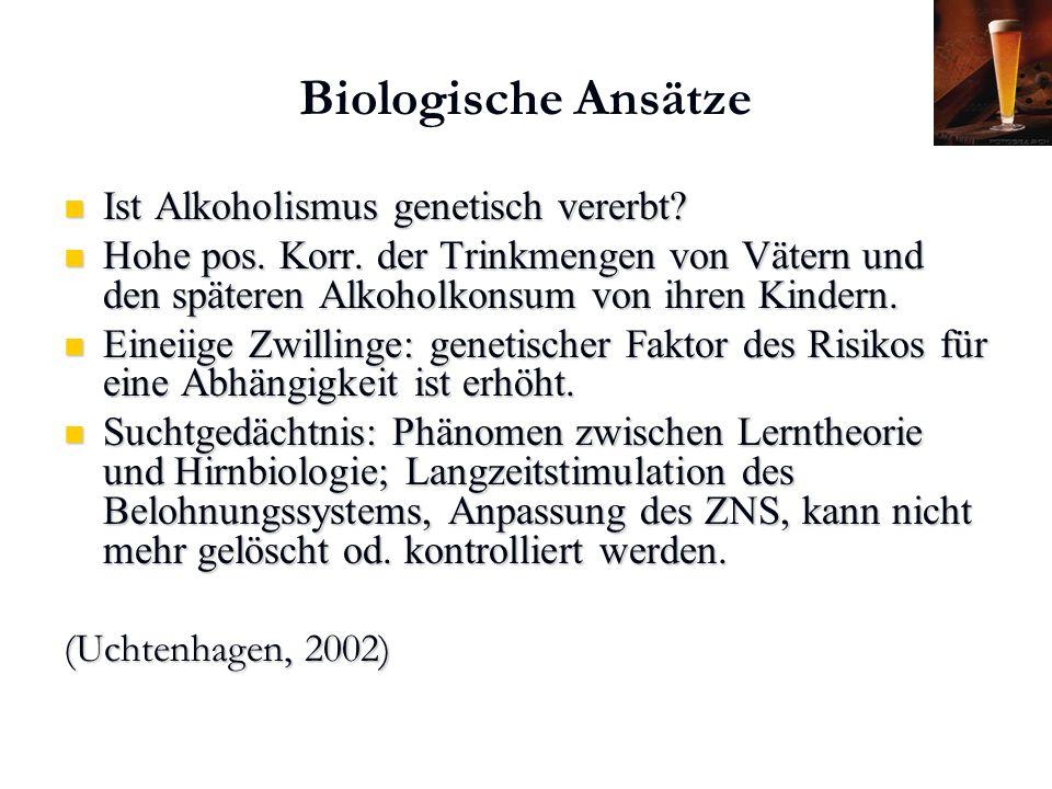 Karl C. Mayer www.neuro24.de Biologische Ansätze Ist Alkoholismus genetisch vererbt? Ist Alkoholismus genetisch vererbt? Hohe pos. Korr. der Trinkmeng