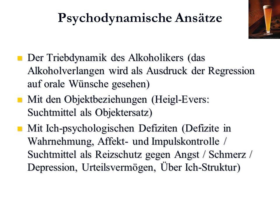 Karl C. Mayer www.neuro24.de Psychodynamische Ansätze Der Triebdynamik des Alkoholikers (das Alkoholverlangen wird als Ausdruck der Regression auf ora