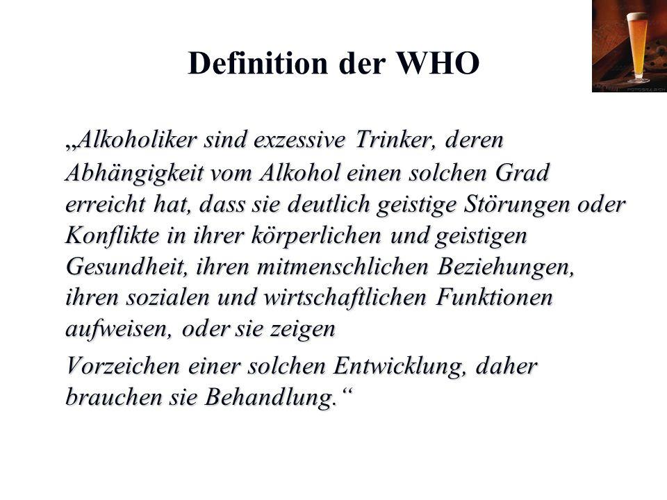 """Karl C. Mayer www.neuro24.de Definition der WHO """"Alkoholiker sind exzessive Trinker, deren Abhängigkeit vom Alkohol einen solchen Grad erreicht hat, d"""