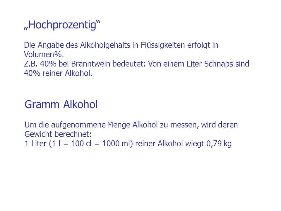 Gramm Alkohol Um die aufgenommene Menge Alkohol zu messen, wird deren Gewicht berechnet: 1 Liter (1 l = 100 cl = 1000 ml) reiner Alkohol wiegt 0,79 kg
