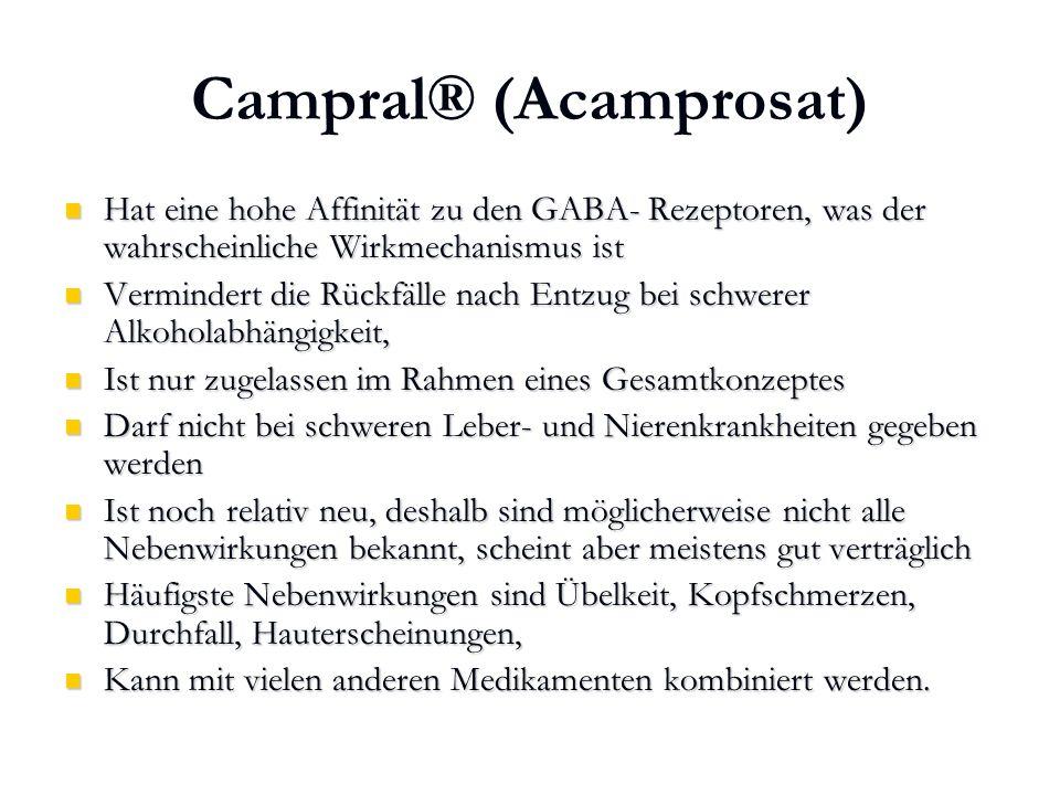 Karl C. Mayer www.neuro24.de Campral® (Acamprosat) Hat eine hohe Affinität zu den GABA- Rezeptoren, was der wahrscheinliche Wirkmechanismus ist Hat ei