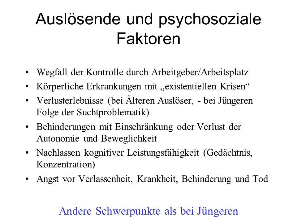 """Auslösende und psychosoziale Faktoren Wegfall der Kontrolle durch Arbeitgeber/Arbeitsplatz Körperliche Erkrankungen mit """"existentiellen Krisen"""" Verlus"""