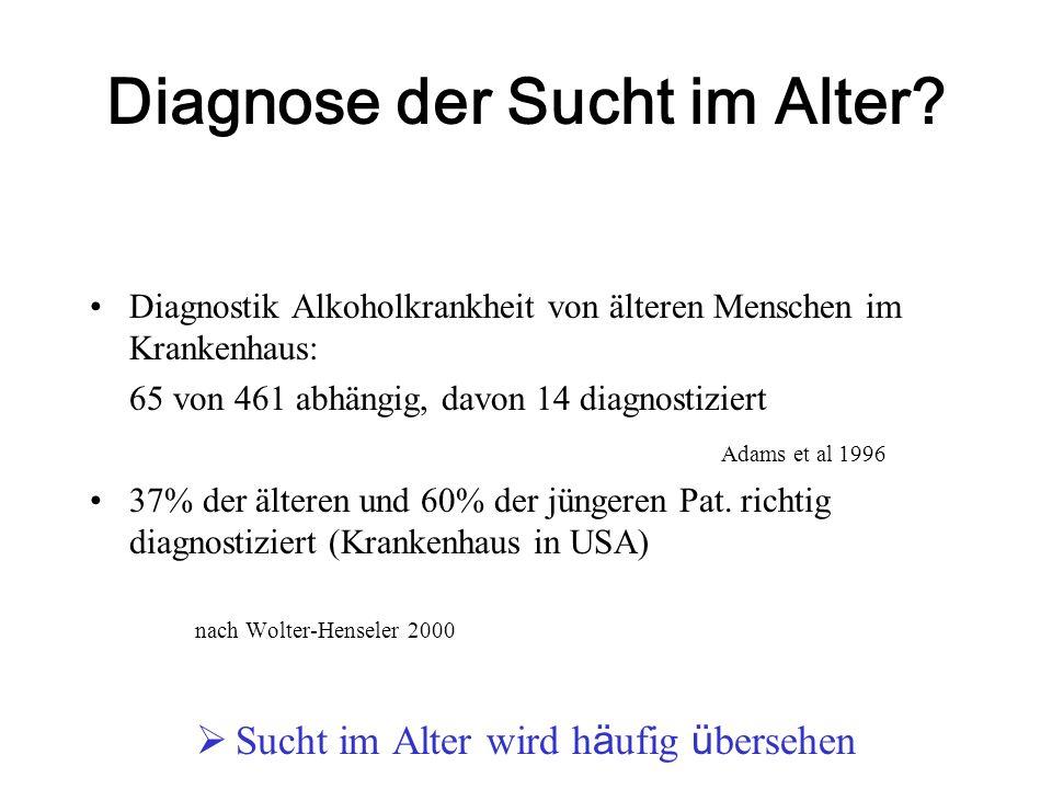 Diagnose der Sucht im Alter? Diagnostik Alkoholkrankheit von älteren Menschen im Krankenhaus: 65 von 461 abhängig, davon 14 diagnostiziert Adams et al