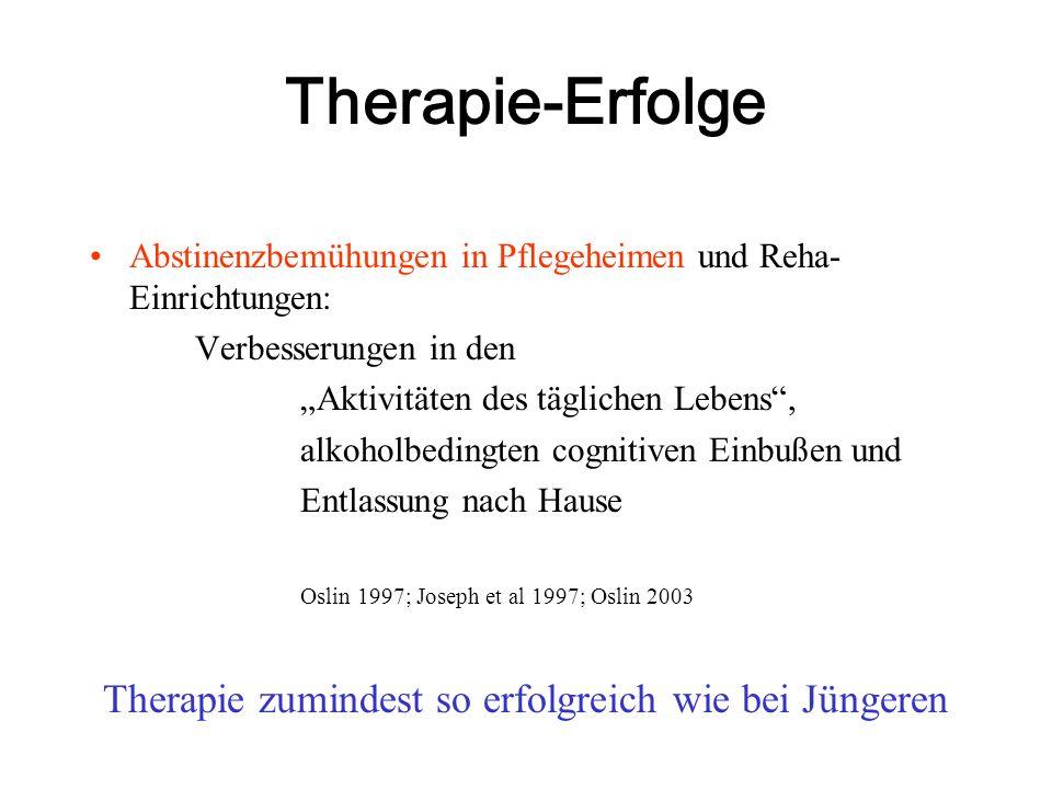 """Therapie-Erfolge Abstinenzbemühungen in Pflegeheimen und Reha- Einrichtungen: Verbesserungen in den """"Aktivitäten des täglichen Lebens"""", alkoholbedingt"""