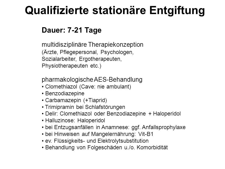 Dauer: 7-21 Tage multidisziplinäre Therapiekonzeption (Ärzte, Pflegepersonal, Psychologen, Sozialarbeiter, Ergotherapeuten, Physiotherapeuten etc.) ph