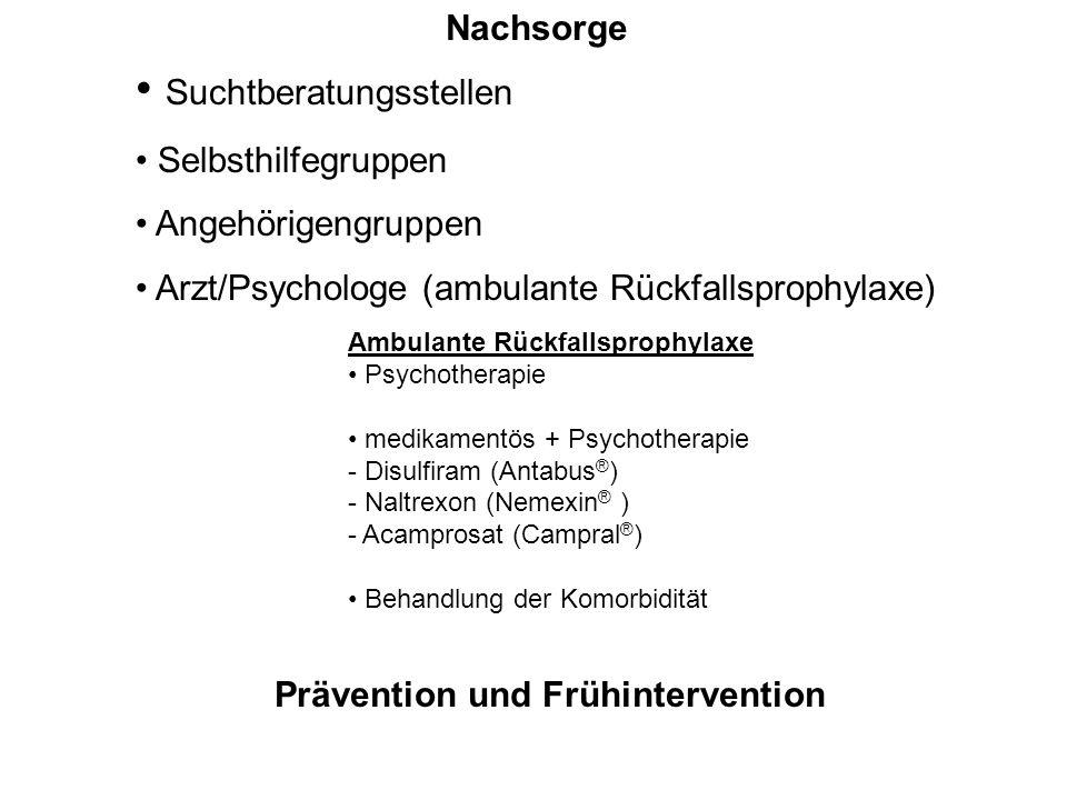 Ambulante Rückfallsprophylaxe Psychotherapie medikamentös + Psychotherapie - Disulfiram (Antabus ® ) - Naltrexon (Nemexin ® ) - Acamprosat (Campral ®
