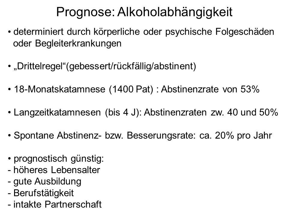 """Prognose: Alkoholabhängigkeit determiniert durch körperliche oder psychische Folgeschäden oder Begleiterkrankungen """"Drittelregel""""(gebessert/rückfällig"""