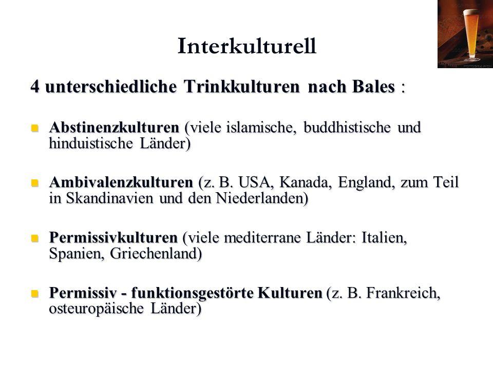 Karl C. Mayer www.neuro24.de Interkulturell 4 unterschiedliche Trinkkulturen nach Bales : Abstinenzkulturen (viele islamische, buddhistische und hindu