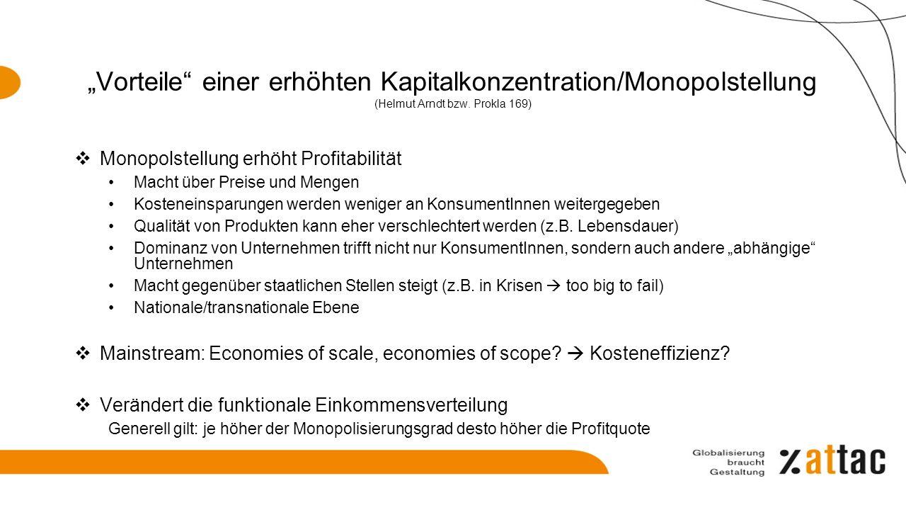 """""""Vorteile"""" einer erhöhten Kapitalkonzentration/Monopolstellung (Helmut Arndt bzw. Prokla 169)  Monopolstellung erhöht Profitabilität Macht über Preis"""