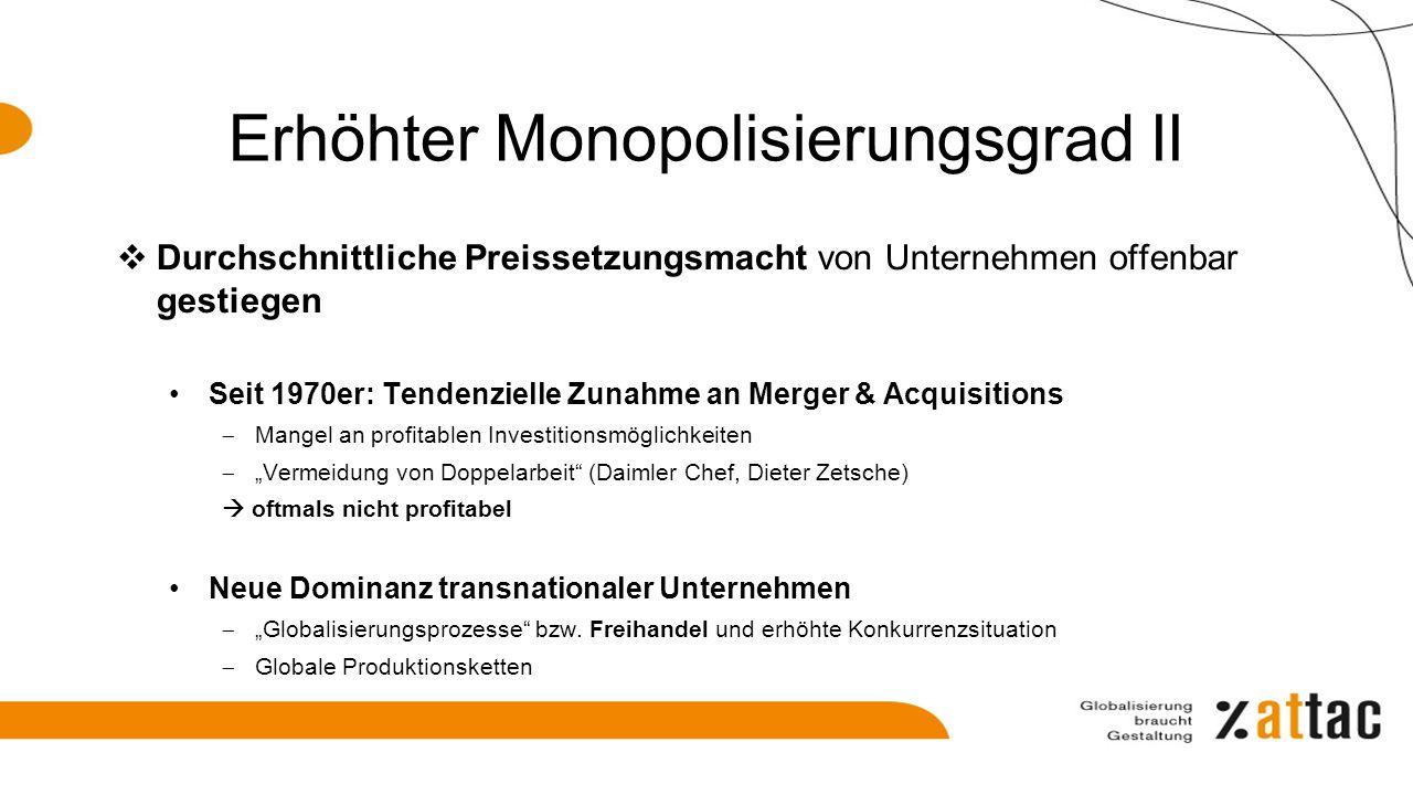 Monopolisierung ist kein linearer Prozess… Beispiel Deutschland 1978 bis 2008 (%) 19782008 Anteil der Beschäftigten in den 100 größten Unternehmen17,413,3 Anteil Geschäftsvolumen der 50 umsatzstärksten Unternehmen im Industriesektor 3131,6 ….im Verkehrs- und Dienstleistungssektor (Privatisierungen Post,Flug,Schiene) 15,312,8 Anteil Geschäftsvolumen der 10 umsatzstärksten deutschen Kreditinstitute 37,350,1 ….Versicherungen (1990-2008)41,462,6 Prokla 169, 527