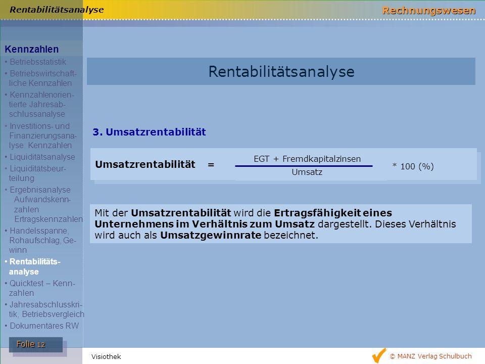 © MANZ Verlag Schulbuch Rechnungswesen Folie 12 Folie 12 Visiothek 3. Umsatzrentabilität Rentabilitätsanalyse Umsatzrentabilität = EGT + Fremdkapitalz