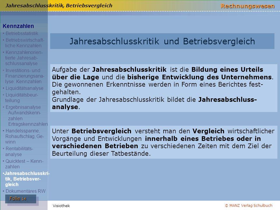 © MANZ Verlag Schulbuch Rechnungswesen Folie 14 Folie 14 Visiothek Jahresabschlusskritik und Betriebsvergleich Aufgabe der Jahresabschlusskritik ist d