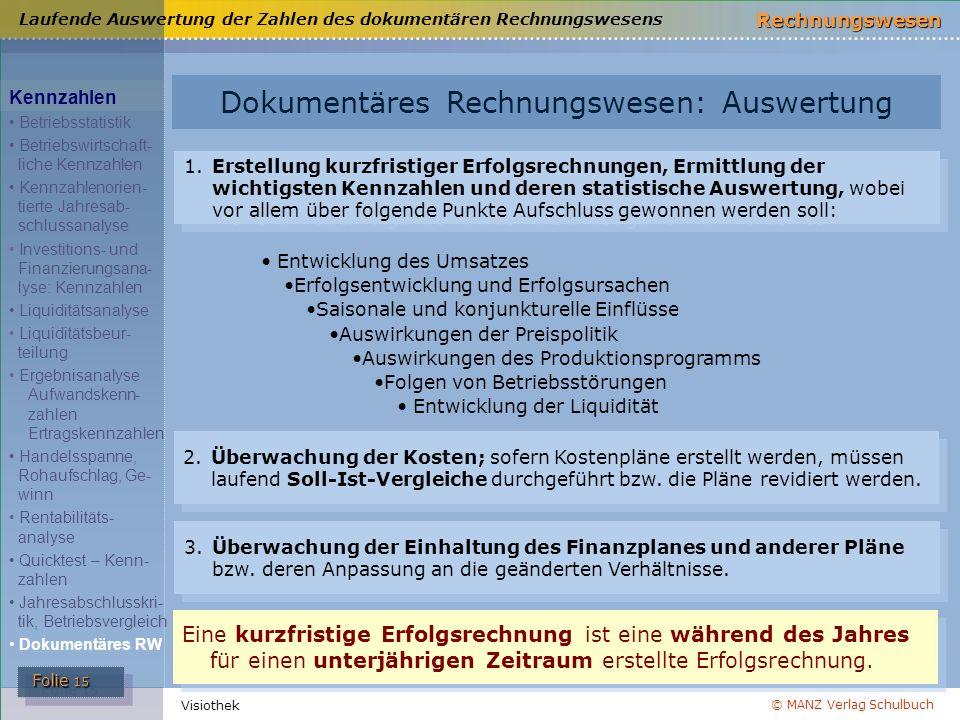 © MANZ Verlag Schulbuch Rechnungswesen Folie 15 Folie 15 Visiothek Laufende Auswertung der Zahlen des dokumentären Rechnungswesens Dokumentäres Rechnu