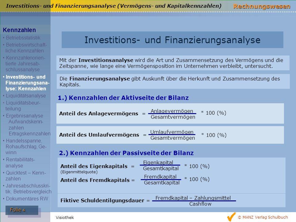 © MANZ Verlag Schulbuch Rechnungswesen Folie 4 Folie 4 Visiothek 1.) Kennzahlen der Aktivseite der Bilanz 2.) Kennzahlen der Passivseite der Bilanz In