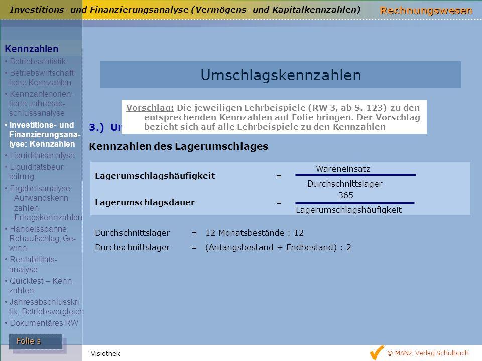© MANZ Verlag Schulbuch Rechnungswesen Folie 5 Folie 5 Visiothek 3.) Umschlagskennzahlen Kennzahlen des Lagerumschlages Durchschnittslager=12 Monatsbe
