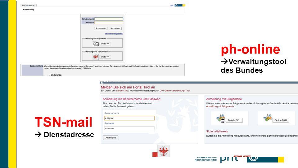ph-online  Verwaltungstool des Bundes TSN-mail  Dienstadresse