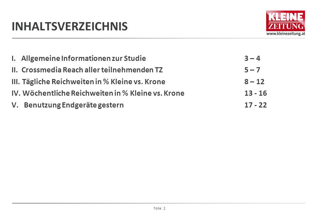 INHALTSVERZEICHNIS I. Allgemeine Informationen zur Studie 3 – 4 II. Crossmedia Reach aller teilnehmenden TZ 5 – 7 III. Tägliche Reichweiten in % Klein