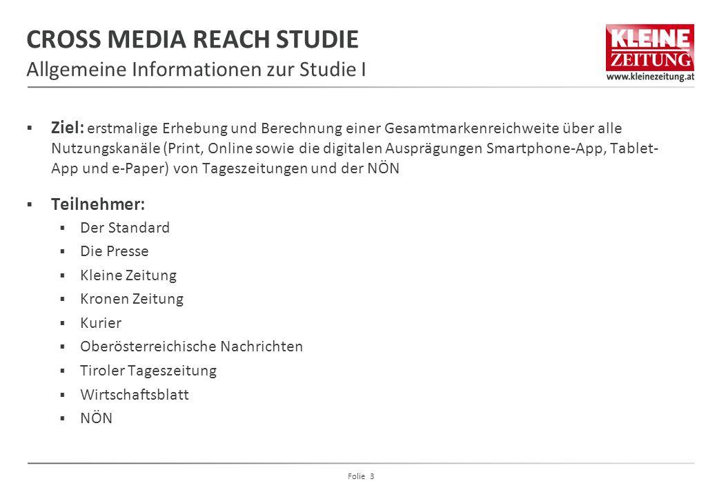 CROSS MEDIA REACH STUDIE Allgemeine Informationen zur Studie I  Ziel: erstmalige Erhebung und Berechnung einer Gesamtmarkenreichweite über alle Nutzu