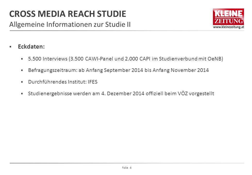 CROSS MEDIA REACH STUDIE Allgemeine Informationen zur Studie II  Eckdaten:  5.500 Interviews (3.500 CAWI-Panel und 2.000 CAPI im Studienverbund mit