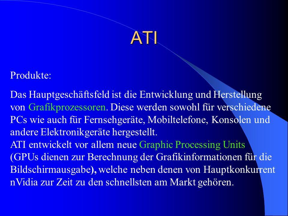 ATI Produkte: Das Hauptgeschäftsfeld ist die Entwicklung und Herstellung von Grafikprozessoren. Diese werden sowohl für verschiedene PCs wie auch für