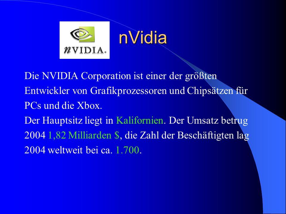 nVidia Die NVIDIA Corporation ist einer der größten Entwickler von Grafikprozessoren und Chipsätzen für PCs und die Xbox. Der Hauptsitz liegt in Kalif