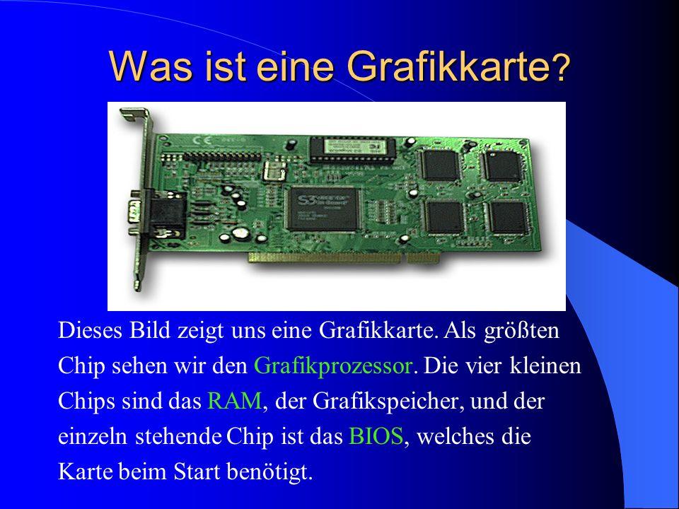 Was ist eine Grafikkarte ? Dieses Bild zeigt uns eine Grafikkarte. Als größten Chip sehen wir den Grafikprozessor. Die vier kleinen Chips sind das RAM
