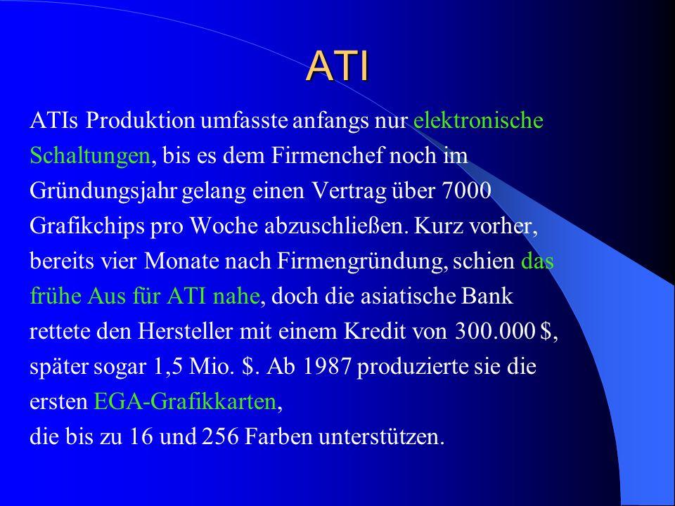 ATI ATIs Produktion umfasste anfangs nur elektronische Schaltungen, bis es dem Firmenchef noch im Gründungsjahr gelang einen Vertrag über 7000 Grafikc
