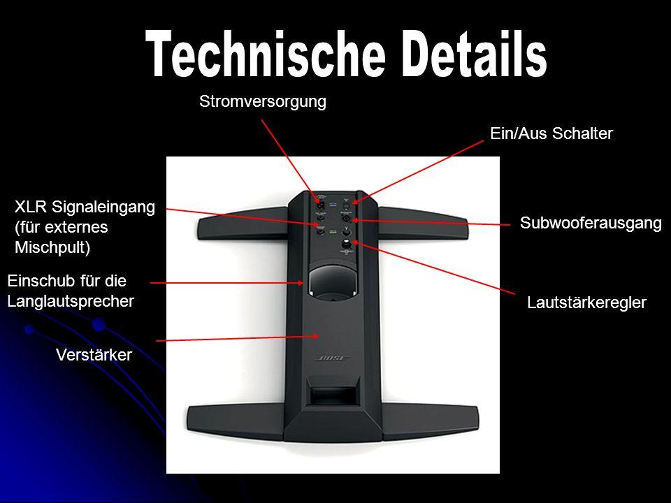 Lautstärkeregler Subwooferausgang Ein/Aus Schalter Stromversorgung XLR Signaleingang (für externes Mischpult) Einschub für die Langlautsprecher Verstärker